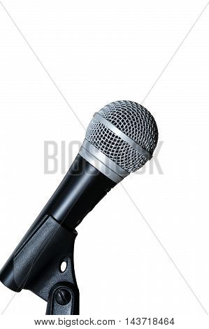 Microphone on tripod isolated on white background