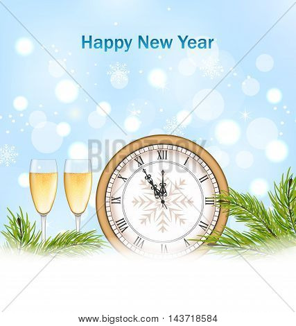 Illustration Happy New Year Background with Clock, Glasses of Champagne and Fir Twigs - Vector