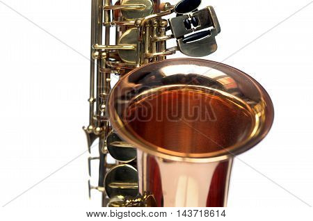 Fragment Of Tenor Saxophone On White Background.