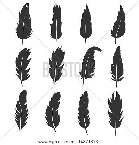 Feather, antique pen black vector icons isolated on white background. Plume for write and education illustration