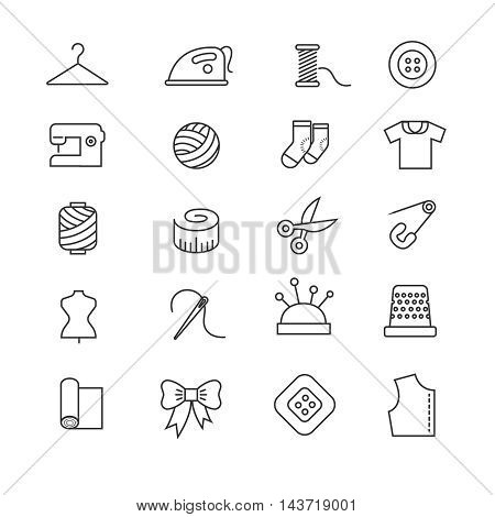 Thin lines fabric, sewing, tailor, knitting vector icons. Set of accessories for handmade hobby illustration