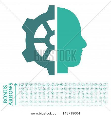 Cyborg Gear icon with 1200 bonus arrow and navigation pictograms. Vector illustration style is flat iconic bicolor symbols, cobalt and cyan colors, white background.