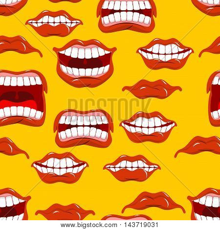 Mouth Emotions Seamless Pattern. Red Lips Ornament. Background Of Different Expressions Of Lip. Shou