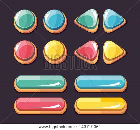 Color glossy buttons round and rectangle. Set of icons for computer games user interface. Vector illustration
