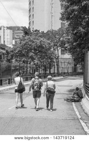 Sao Paulo, Sp, Brazil, Feb 26, 2012: Streets Sao Paulo Elevado Costa E Silva, Downtown, Urban Life S