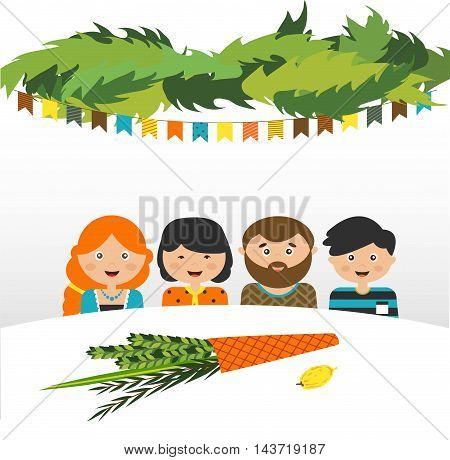 family in the sukkah . sukkot Jewish holiday. vector illustration