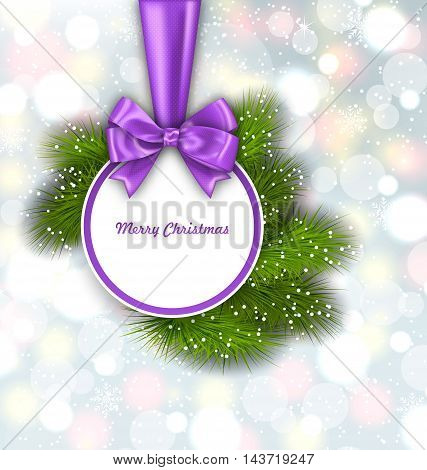 Illustration Merry Christmas Elegant Card with Bow Ribbon and Pine Twigs, on Shimmering Background - Vector