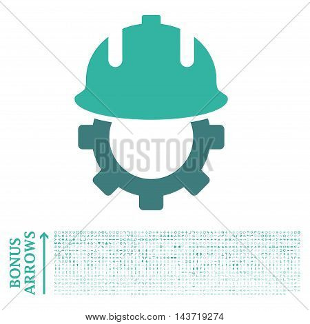 Development Helmet icon with 1200 bonus arrow and navigation pictograms. Vector illustration style is flat iconic bicolor symbols, cobalt and cyan colors, white background.