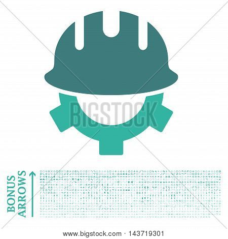 Development Helmet icon with 1200 bonus arrow and direction pictograms. Vector illustration style is flat iconic bicolor symbols, cobalt and cyan colors, white background.