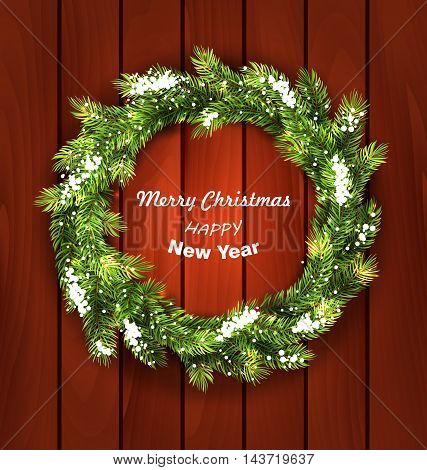Illustration Christmas Wreath with Snow, New Year and Christmas Decoration on Wooden  Background - Vector