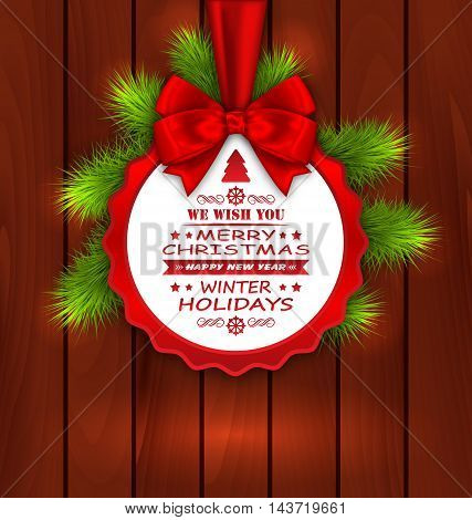 Illustration Merry Christmas Elegant Card with Bow Ribbon and Pine Twigs on Wooden Background - Vector