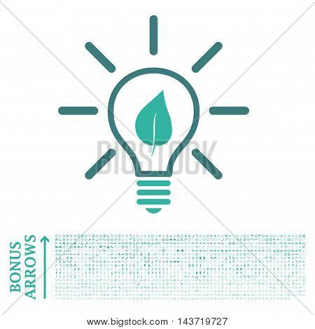 Eco Light Bulb icon with 1200 bonus arrow and direction pictograms. Vector illustration style is flat iconic bicolor symbols, cobalt and cyan colors, white background.