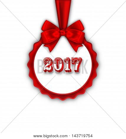 Illustration Happy New Year 2017 Card with Red Silk Ribbon and Bow - Vector