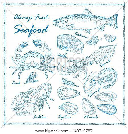 Vector vintage seafood restaurant illustration. Hand drawn chalkboard banner. Great for menu banner flyer card seafood business promote.
