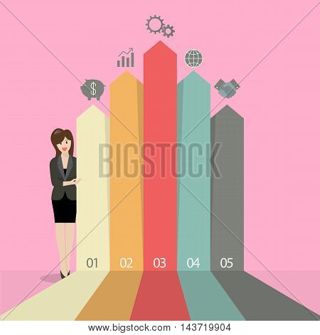 Business woman presenting the marketing infographic. Vintage flat style