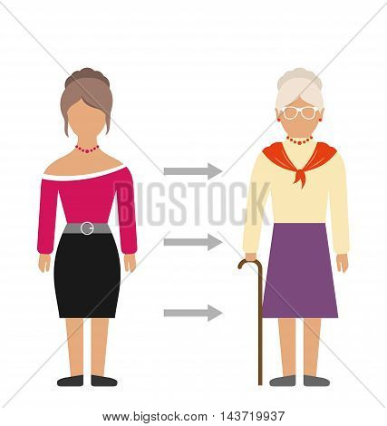 Illustration Concept of Aging Process, Young and Old Woman, Comparison. Colorful People Isolated on White Background - Vector