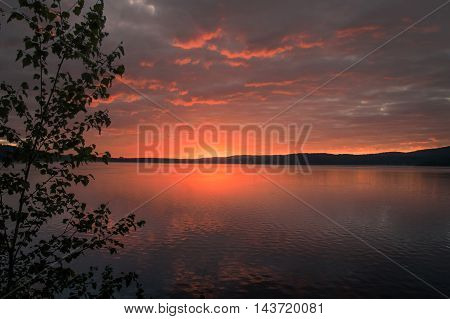Bright Sunrise On The Bank Of Forest Lake