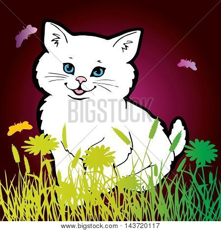Funny vector illustration with white smiling persian kitten with light blue eyes, pink nose, pink tongue on the green yellow grass and purple background.