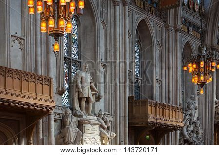LONDON, UK - SEPTEMBER 20, 2015: Interior of Guildhall Yard, dated back to 1396 year. Hall contains memorials to  Admiral Lord Nelson, the Duke of Wellington, William Beckford, and Winston Churchill.