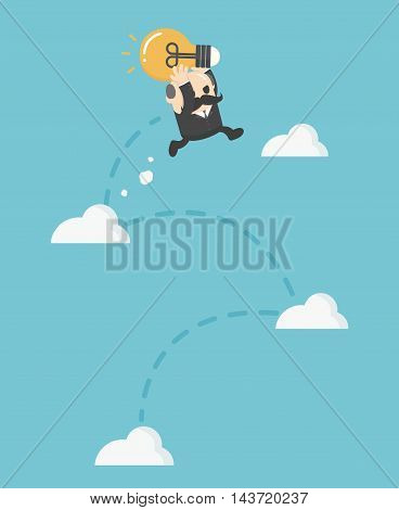 businessman jumping on Cloud. Growth vector eps .10 Illustration