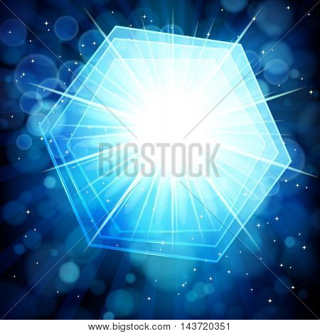 Blue abstract background with bokeh defocused lights. Hexagon banner for your text.