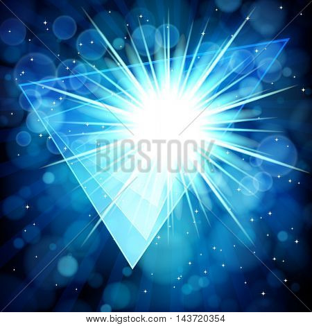 Blue abstract background with bokeh defocused lights. Triangle banner for your text.