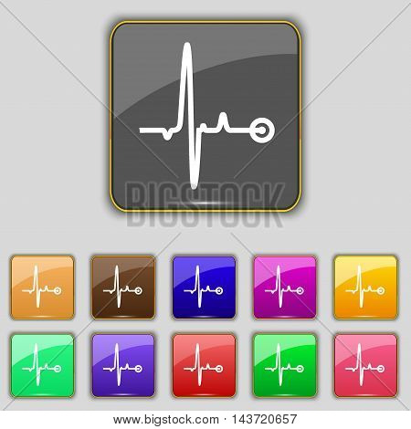 Heartbeat Icon Sign. Set With Eleven Colored Buttons For Your Site. Vector