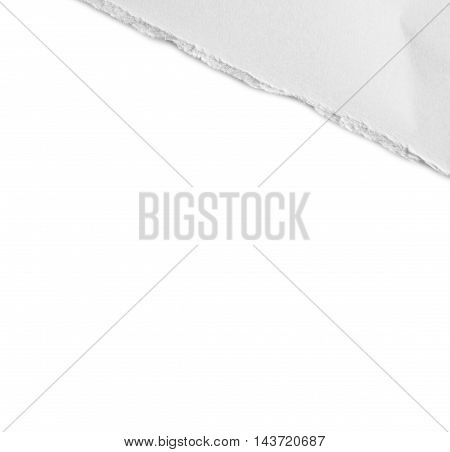 white ripped pieces of paper on white background. each one is shot separately