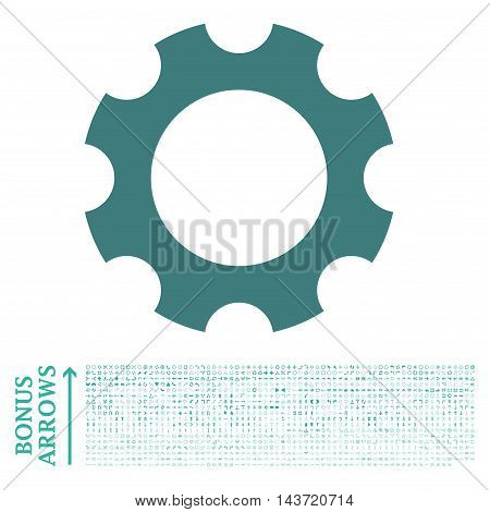 Gear icon with 1200 bonus arrow and direction pictograms. Vector illustration style is flat iconic bicolor symbols, cobalt and cyan colors, white background.