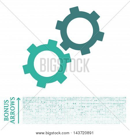 Gears icon with 1200 bonus arrow and direction pictograms. Vector illustration style is flat iconic bicolor symbols, cobalt and cyan colors, white background.
