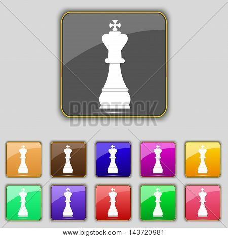 Chess King Icon Sign. Set With Eleven Colored Buttons For Your Site. Vector