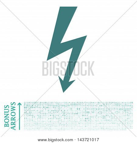 High Voltage icon with 1200 bonus arrow and navigation pictograms. Vector illustration style is flat iconic bicolor symbols, cobalt and cyan colors, white background.
