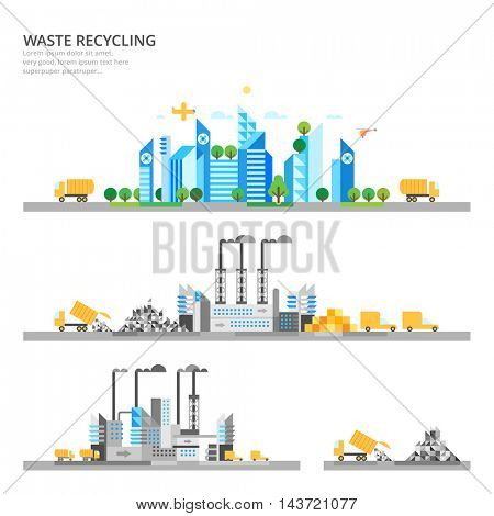Vector info graphic - Waste recycling. Modern city. Ecosystem.