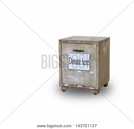 Old donate box isolated on white background with clipping path.