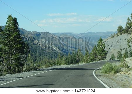 View of Sierra Nevada Mountains from California Highway 4 Ebbetts Pass area