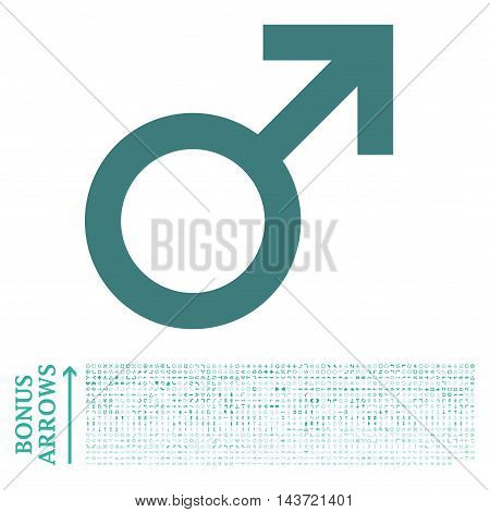 Male Symbol icon with 1200 bonus arrow and direction pictograms. Vector illustration style is flat iconic bicolor symbols, cobalt and cyan colors, white background.