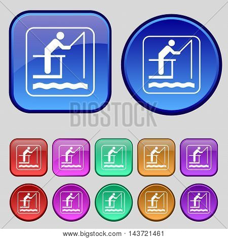 Fishing Icon Sign. A Set Of Twelve Vintage Buttons For Your Design. Vector