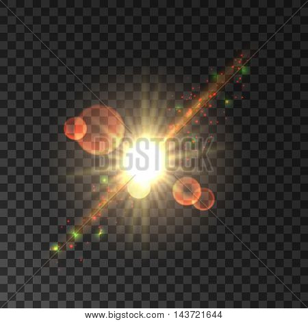 Glowing star light flash. Vector shining sun rays with lens flare effect. Sparkling beams on transparent background