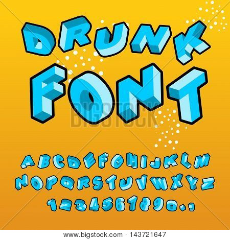 Drunk Font. Different Letters Slope. Crazy Abc. Curves Alphabet