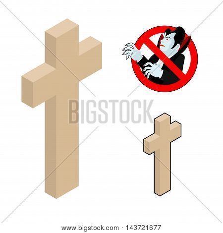 Wood Cross, Crucifix Against Vampires. Ban Dracula. Anti Vampire Tool. Destruction And Extermination