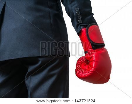 Hand Of Boxing Businessman. Isolated On White Background.