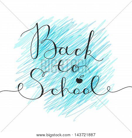 back to school lettering on chalkboard, vector handwritten text