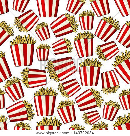 French fries seamless pattern wallpaper. Red and white striped paper boxes with fried crispy potato strips. Fast food vector background for restaurant, menu, tray
