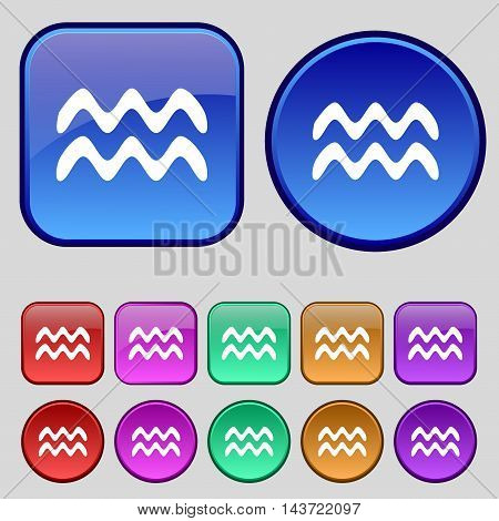 Aquarius Icon Sign. A Set Of Twelve Vintage Buttons For Your Design. Vector