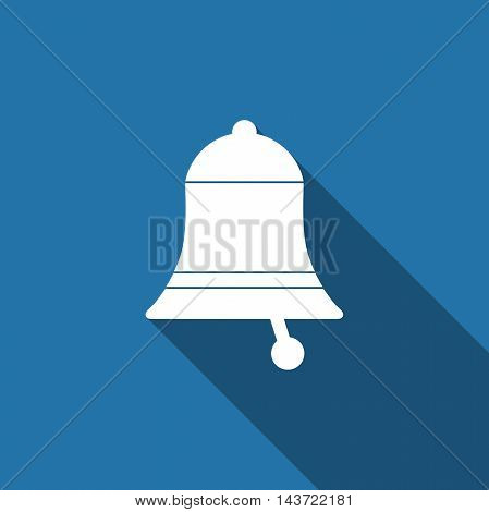Bell flat icon with long shadow. Vector Illustration