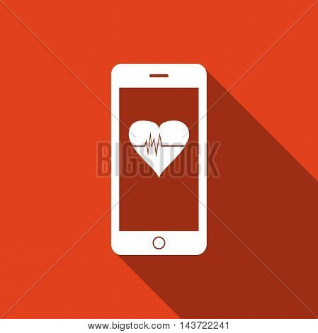 Smartphone with heart rate monitor function flat icon with long shadow. Vector Illustration