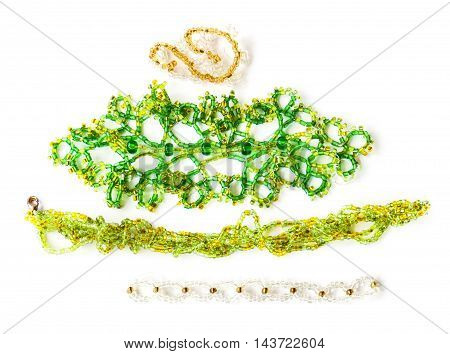 woven beaded jewelry made of green glass beads