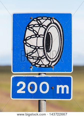 Icelandic Traffic Sign Indicating That Snow Chains Are Required