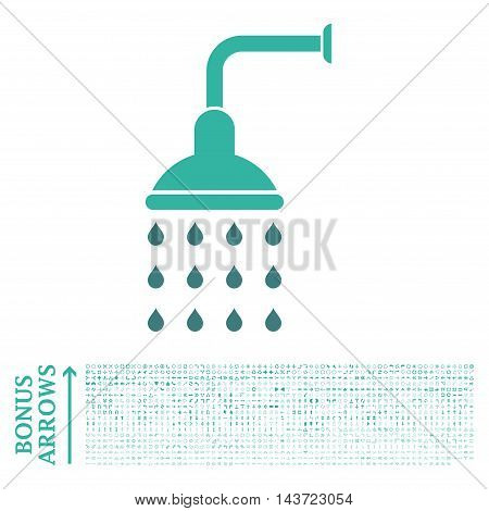 Shower icon with 1200 bonus arrow and navigation pictograms. Vector illustration style is flat iconic bicolor symbols, cobalt and cyan colors, white background.