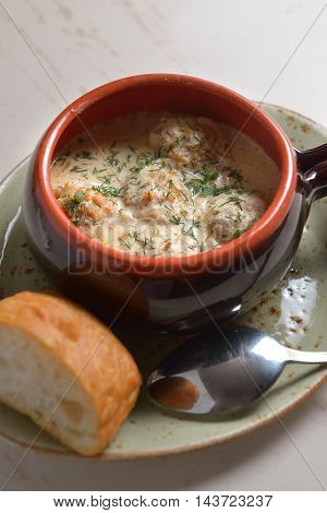 Cup with meatballs in sauce. beautiful picture